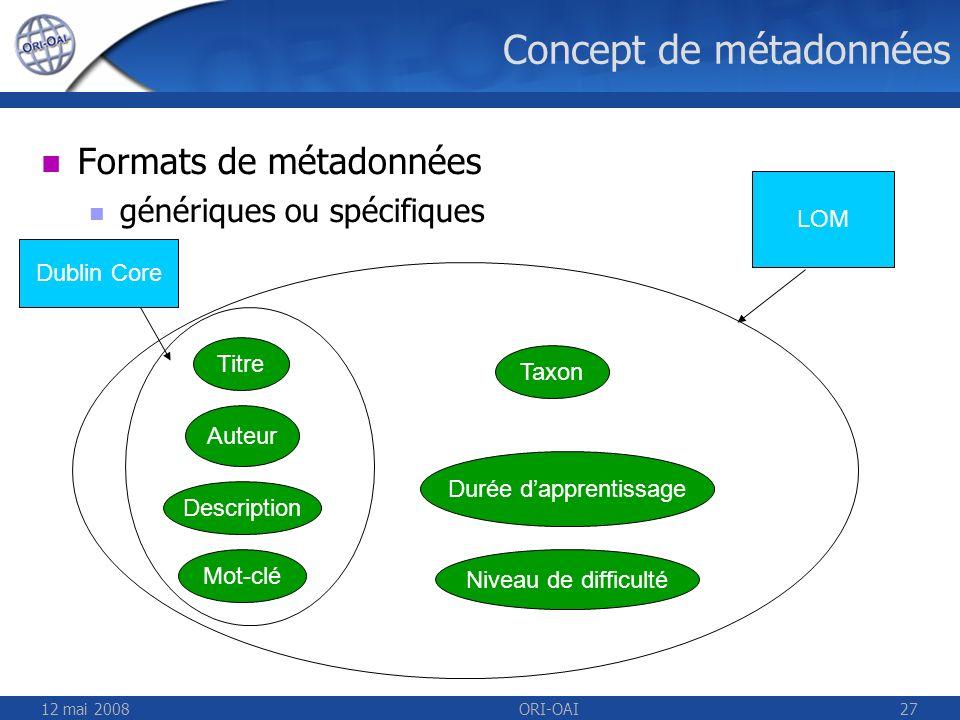Concept de métadonnées