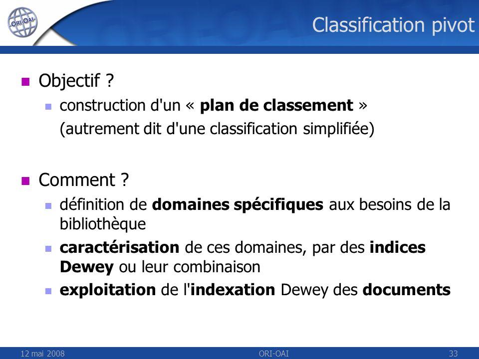 Classification pivot Objectif Comment