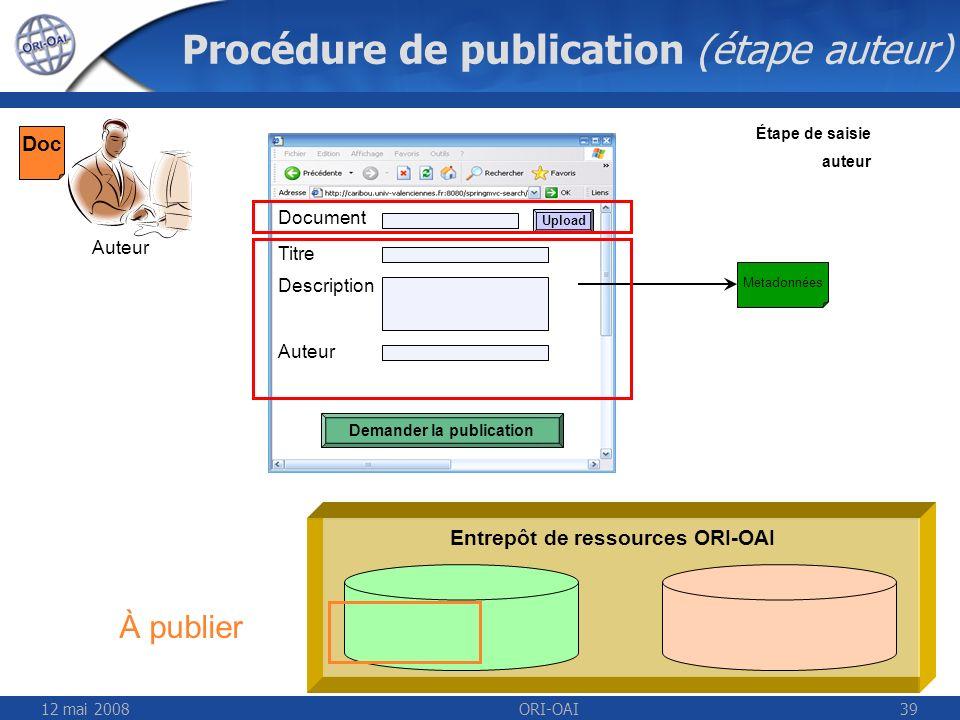 Procédure de publication (étape auteur)