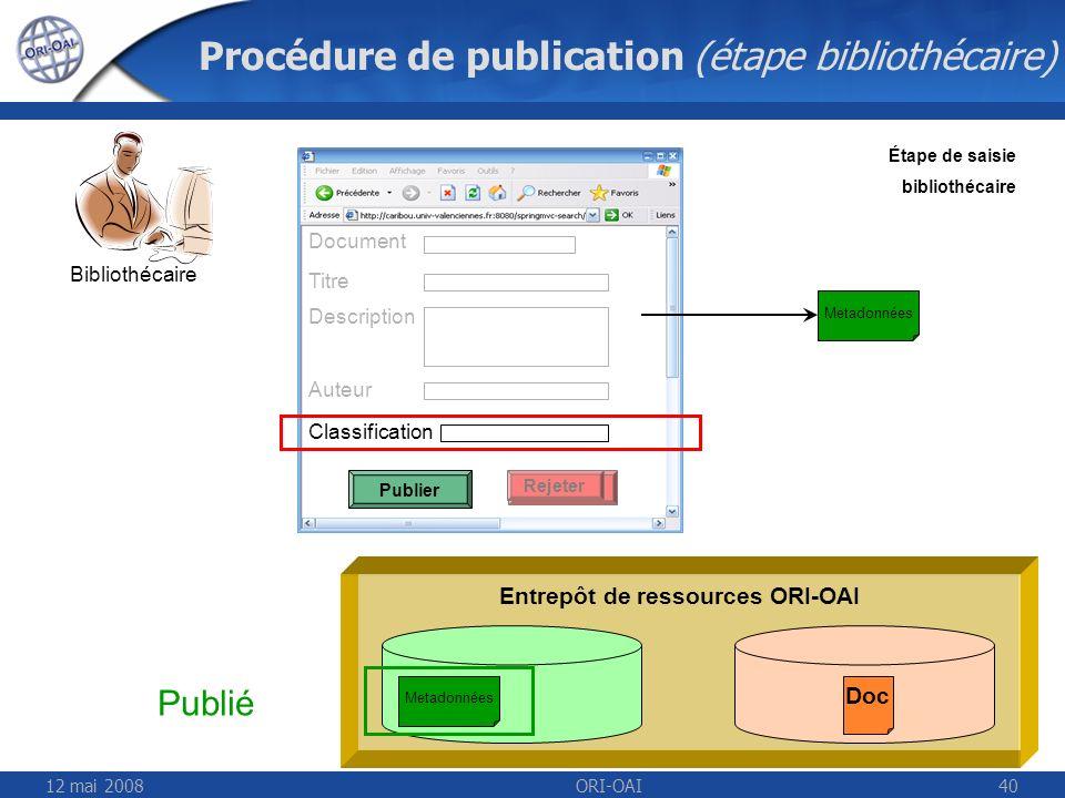 Procédure de publication (étape bibliothécaire)