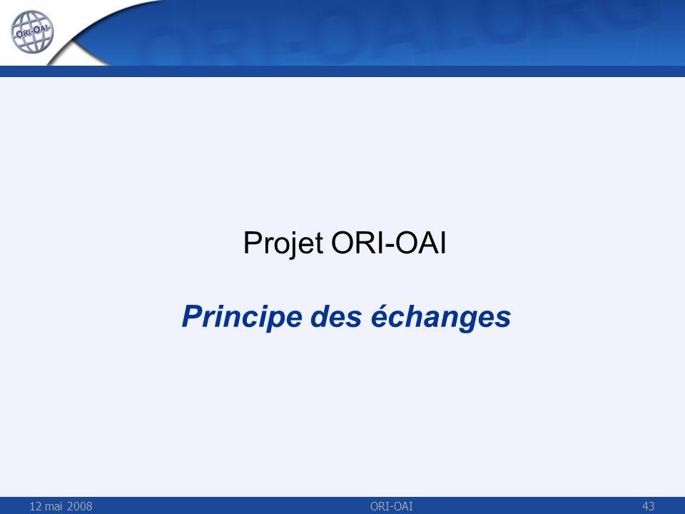 Projet ORI-OAI Principe des échanges 12 mai 2008 ORI-OAI