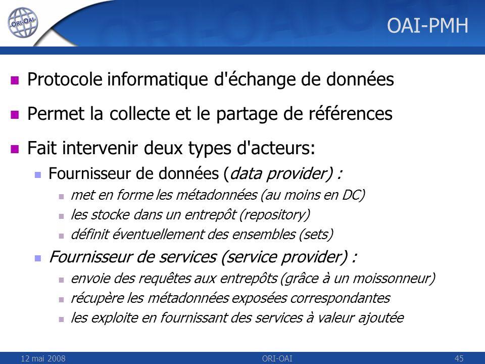 OAI-PMH Protocole informatique d échange de données