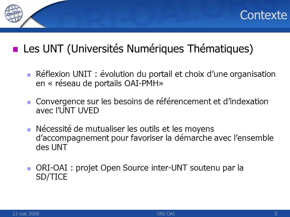 Contexte Les UNT (Universités Numériques Thématiques)