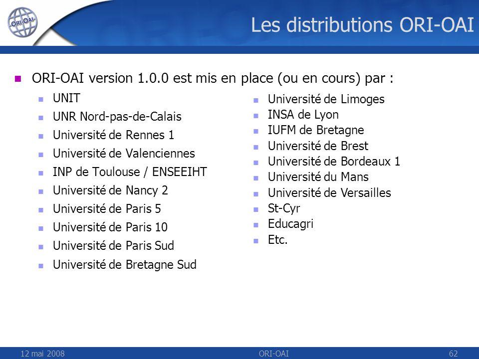 Les distributions ORI-OAI