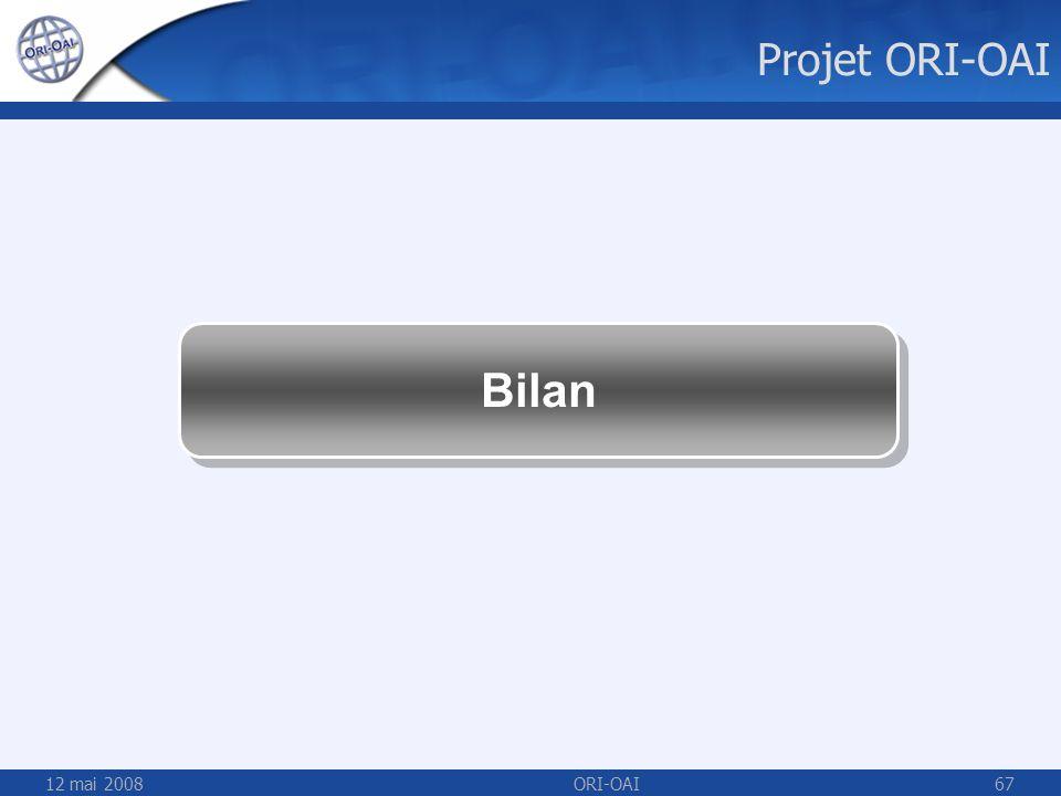 Projet ORI-OAI Bilan 12 mai 2008 ORI-OAI