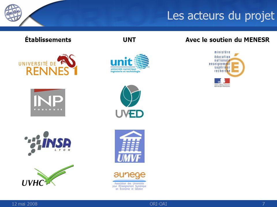 Les acteurs du projet Établissements UNT Avec le soutien du MENESR