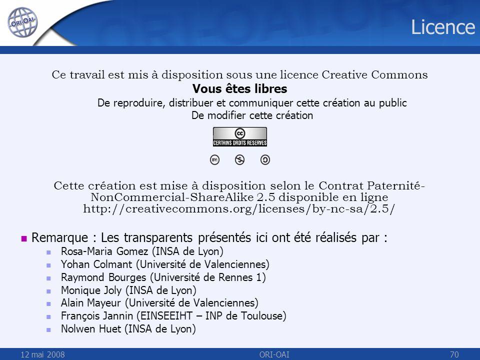 Licence Ce travail est mis à disposition sous une licence Creative Commons. Vous êtes libres.