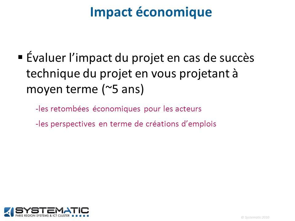 Impact économique Évaluer l'impact du projet en cas de succès technique du projet en vous projetant à moyen terme (~5 ans)