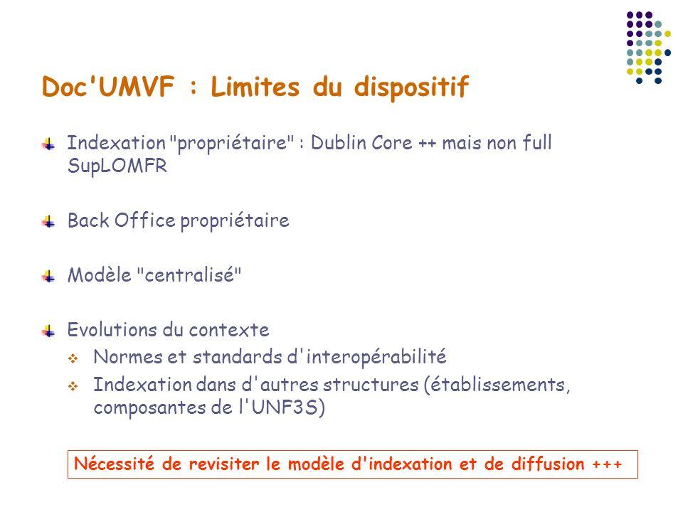 Doc UMVF : Limites du dispositif