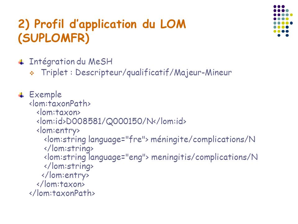 2) Profil d'application du LOM (SUPLOMFR)