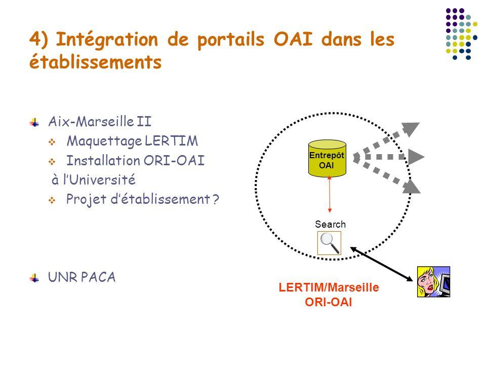 4) Intégration de portails OAI dans les établissements