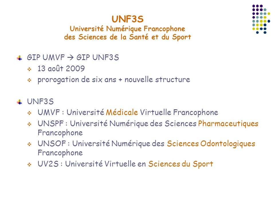 UNF3S Université Numérique Francophone des Sciences de la Santé et du Sport
