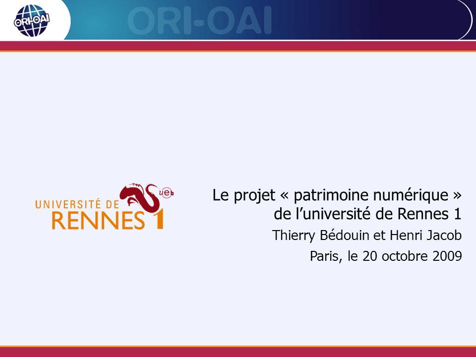 Le projet « patrimoine numérique » de l'université de Rennes 1