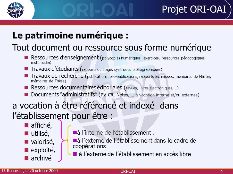 Projet ORI-OAI Le patrimoine numérique :