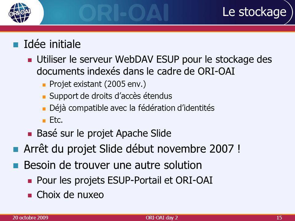 Le stockage Idée initiale Arrêt du projet Slide début novembre 2007 !