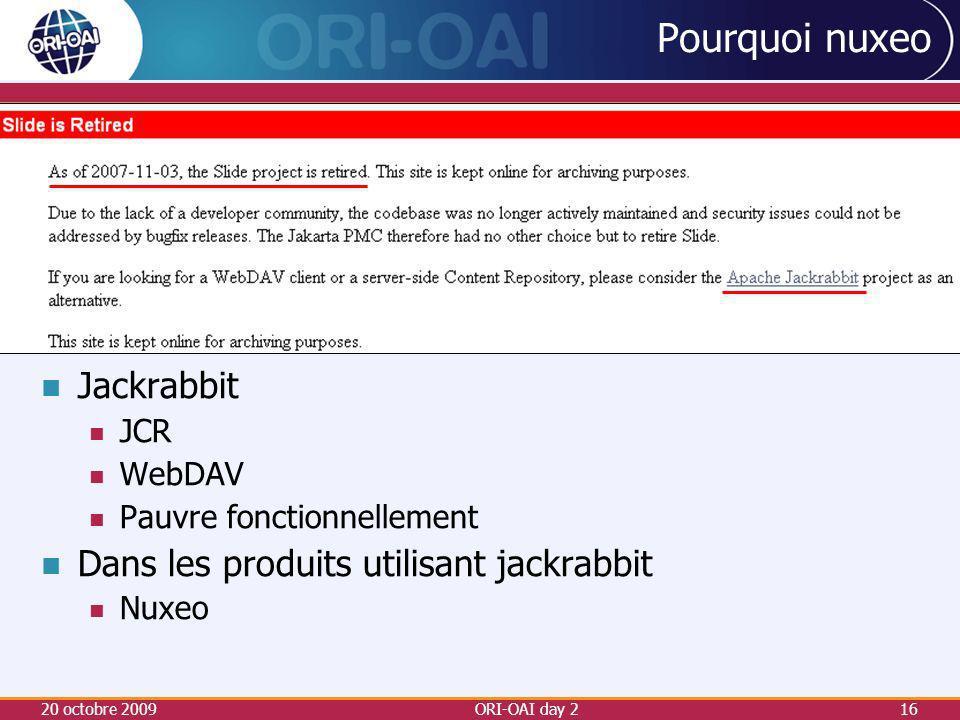 Pourquoi nuxeo Jackrabbit Dans les produits utilisant jackrabbit JCR