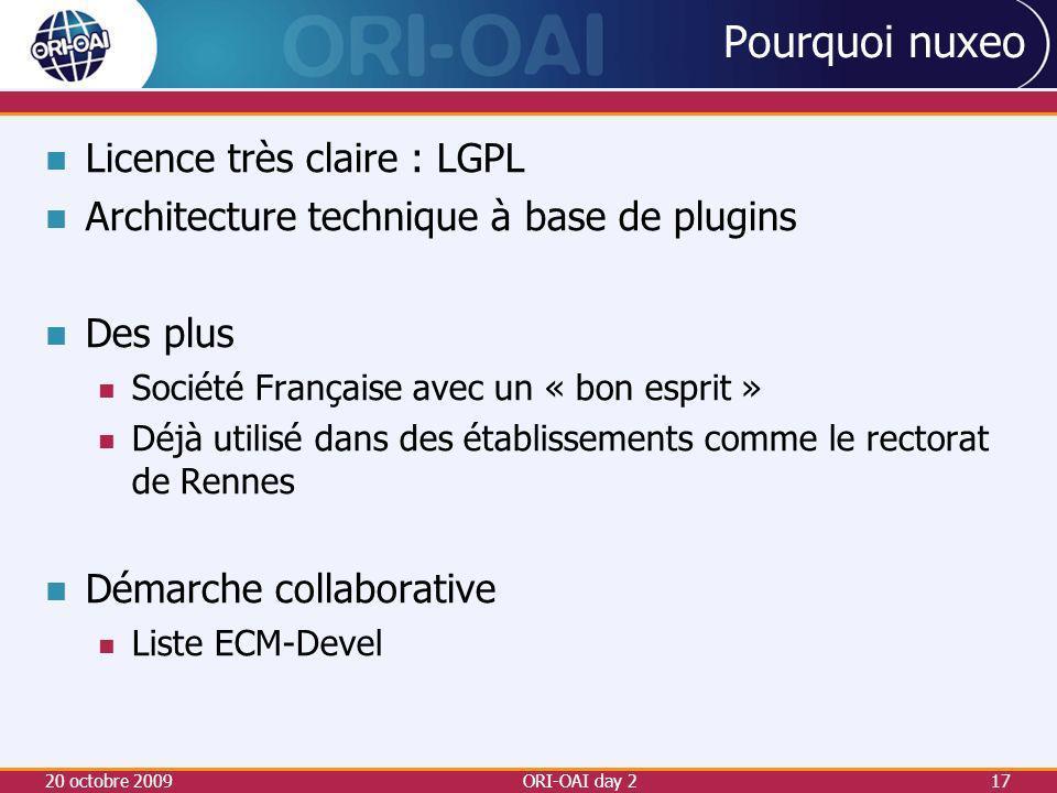 Pourquoi nuxeo Licence très claire : LGPL