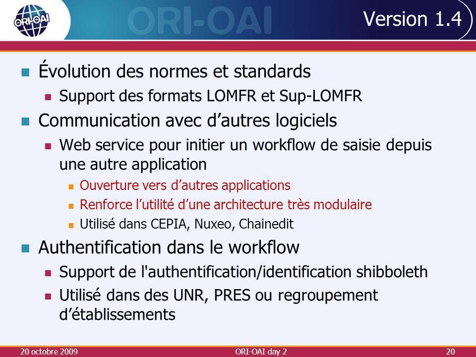 Version 1.4 Évolution des normes et standards