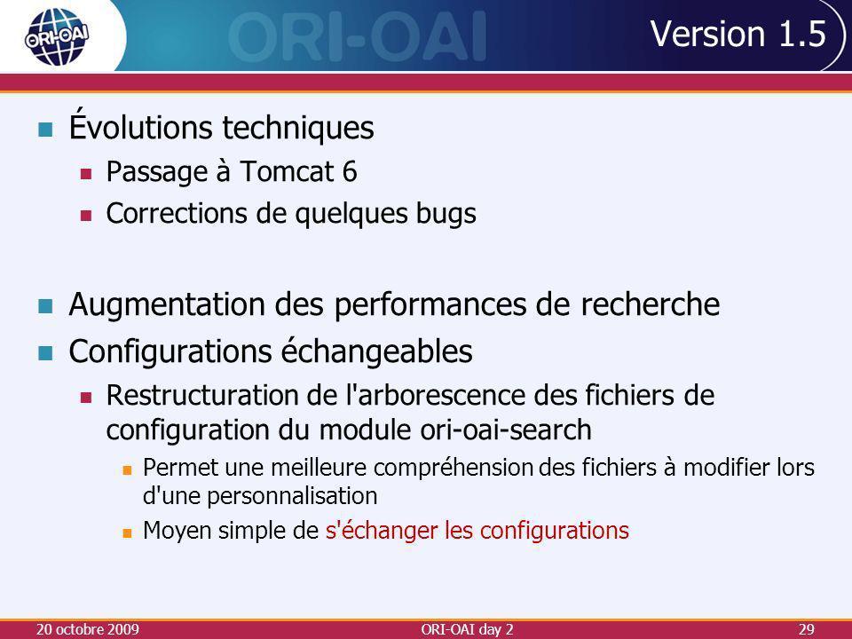 Version 1.5 Évolutions techniques