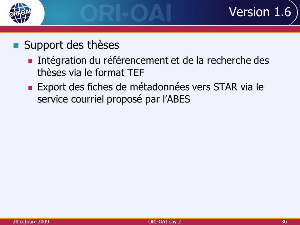 Version 1.6 Support des thèses