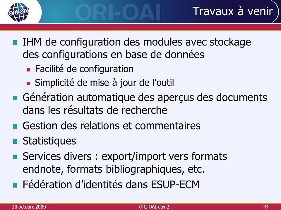 Travaux à venir IHM de configuration des modules avec stockage des configurations en base de données.
