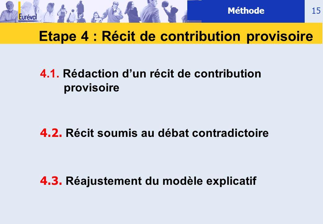 Etape 4 : Récit de contribution provisoire