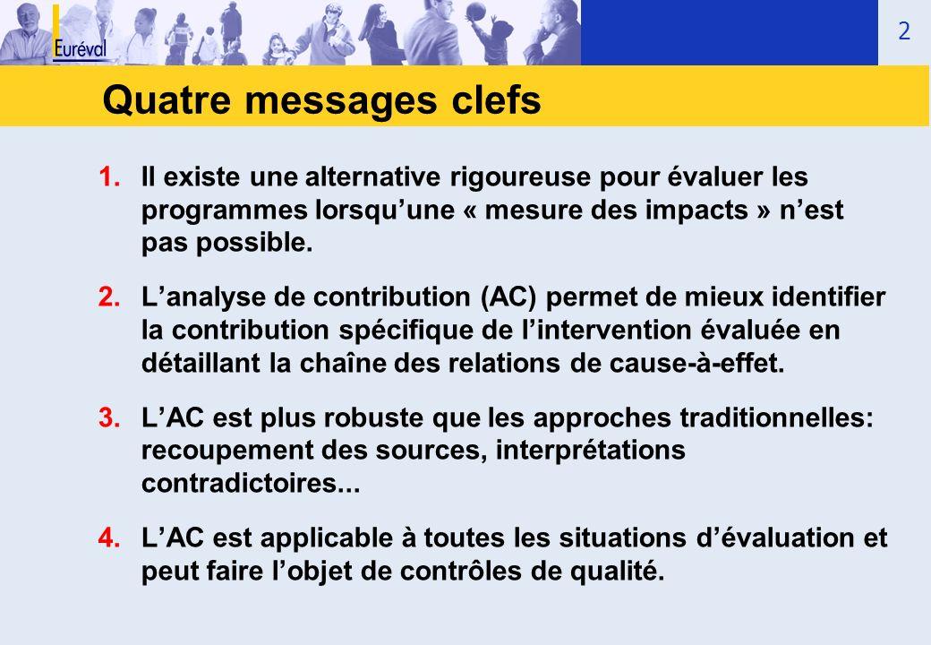 Quatre messages clefs Il existe une alternative rigoureuse pour évaluer les programmes lorsqu'une « mesure des impacts » n'est pas possible.