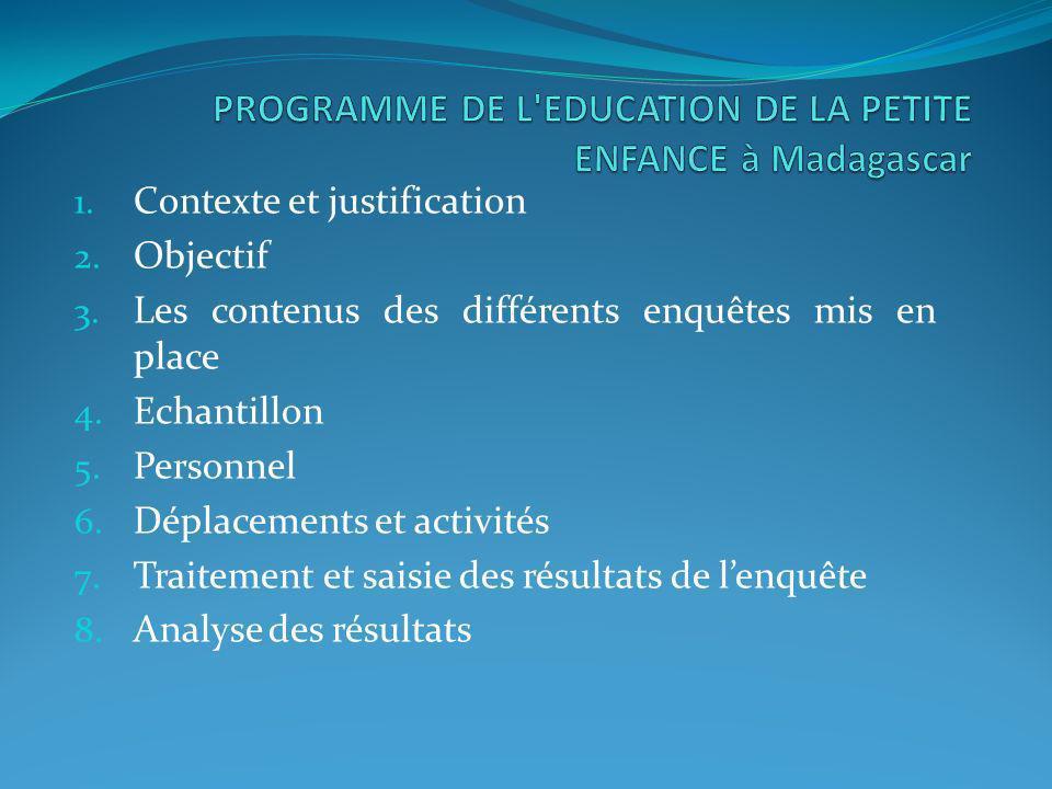 PROGRAMME DE L EDUCATION DE LA PETITE ENFANCE à Madagascar