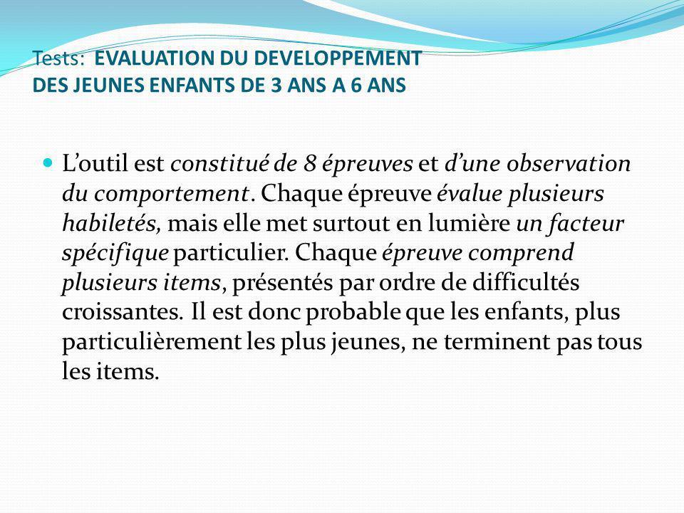 Tests: EVALUATION DU DEVELOPPEMENT DES JEUNES ENFANTS DE 3 ANS A 6 ANS