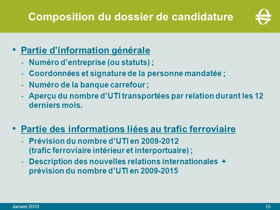 Composition du dossier de candidature
