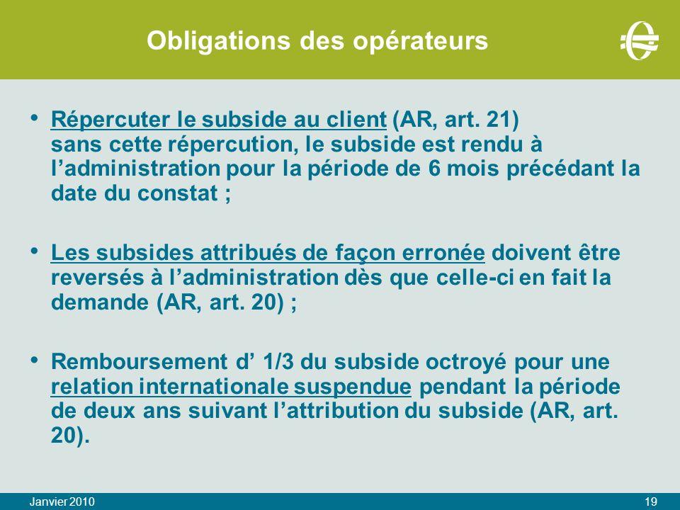 Obligations des opérateurs