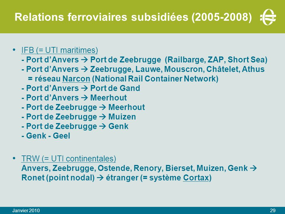 Relations ferroviaires subsidiées ( )