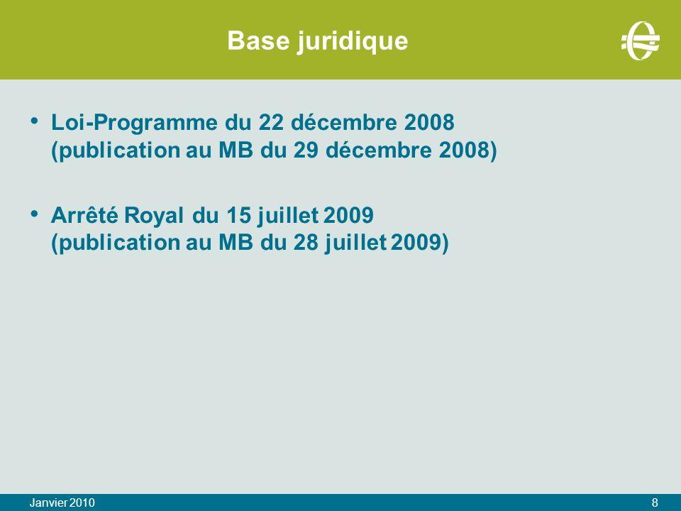 Base juridique Loi-Programme du 22 décembre 2008 (publication au MB du 29 décembre 2008)