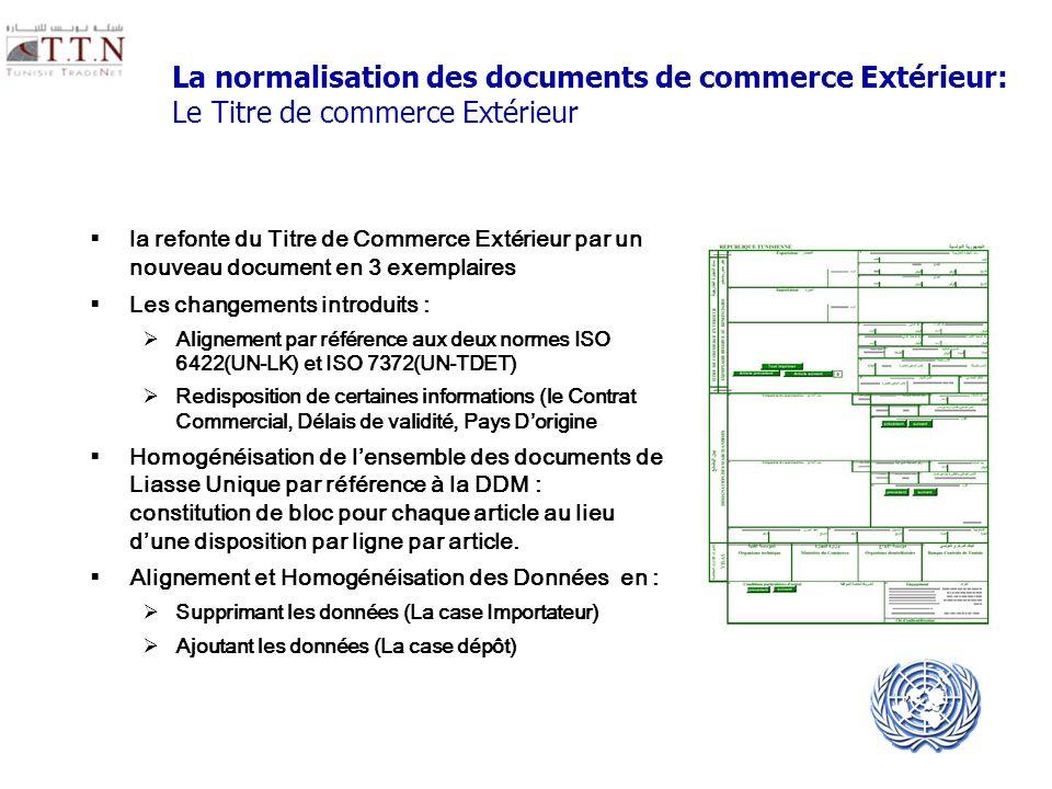 La normalisation des documents de commerce Extérieur: Le Titre de commerce Extérieur