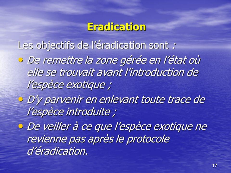Les objectifs de l'éradication sont :