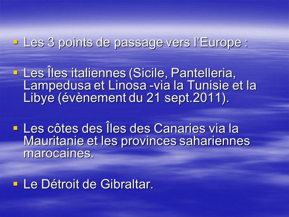 Les 3 points de passage vers l'Europe :