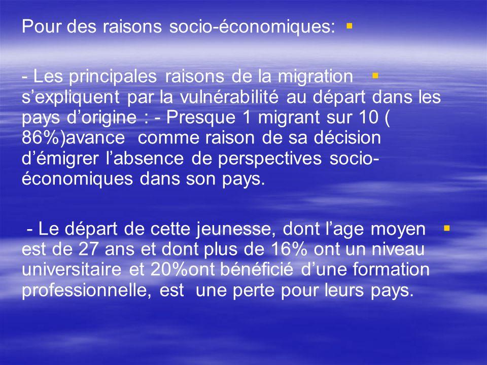 Pour des raisons socio-économiques: