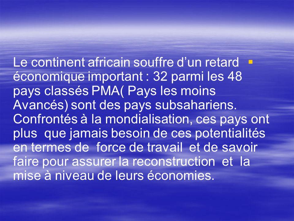 Le continent africain souffre d'un retard économique important : 32 parmi les 48 pays classés PMA( Pays les moins Avancés) sont des pays subsahariens.