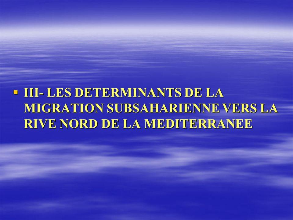 III- LES DETERMINANTS DE LA MIGRATION SUBSAHARIENNE VERS LA RIVE NORD DE LA MEDITERRANEE