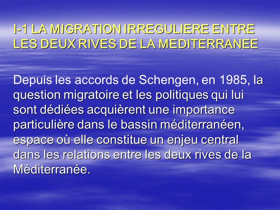 I-1 LA MIGRATION IRREGULIERE ENTRE LES DEUX RIVES DE LA MEDITERRANEE