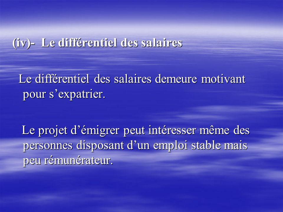(iv)- Le différentiel des salaires