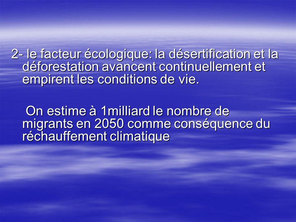 2- le facteur écologique: la désertification et la déforestation avancent continuellement et empirent les conditions de vie.