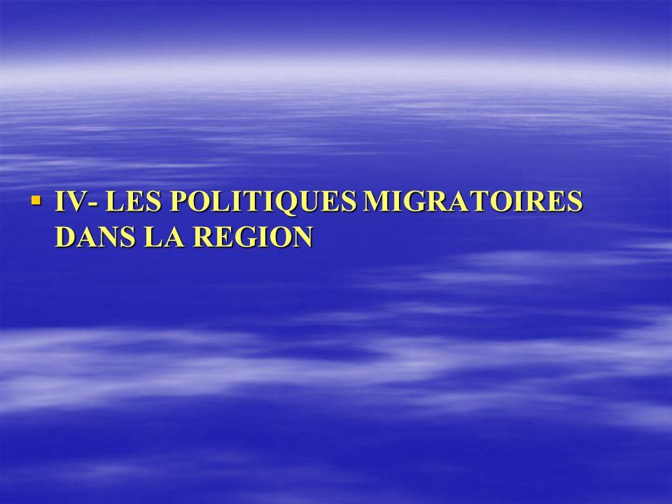 IV- LES POLITIQUES MIGRATOIRES DANS LA REGION