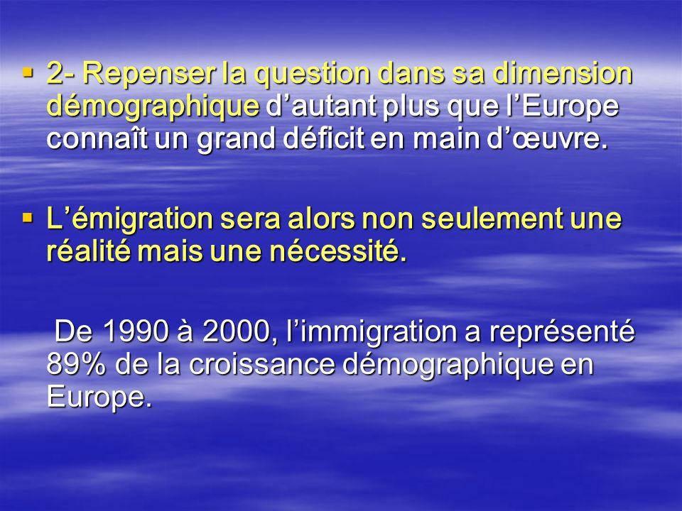 2- Repenser la question dans sa dimension démographique d'autant plus que l'Europe connaît un grand déficit en main d'œuvre.