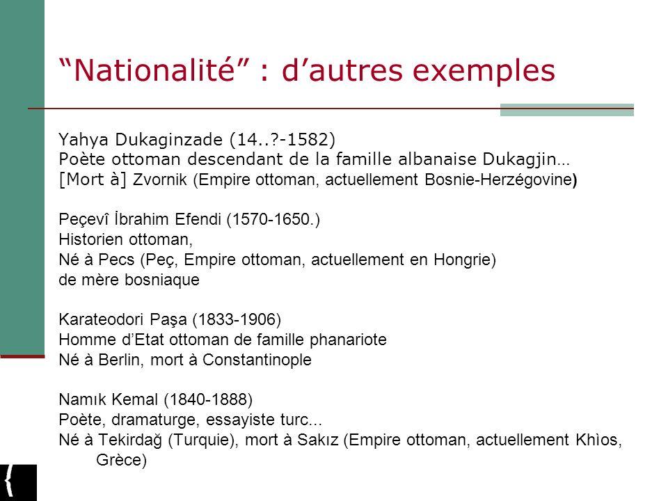 Nationalité : d'autres exemples