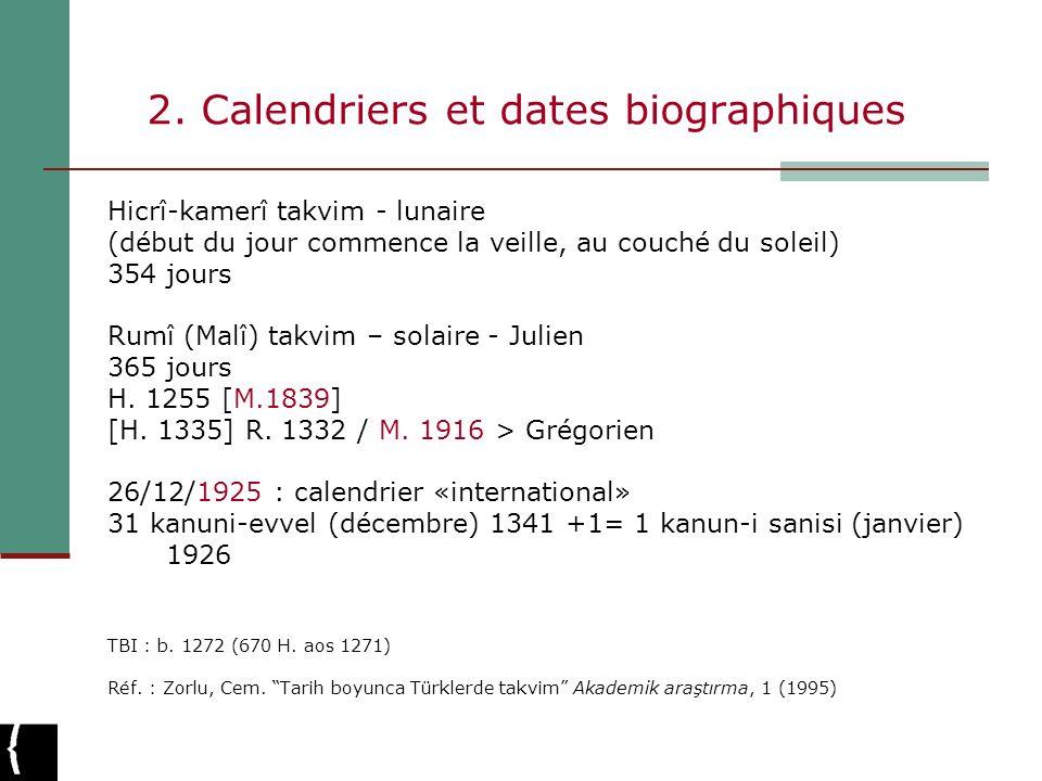 2. Calendriers et dates biographiques