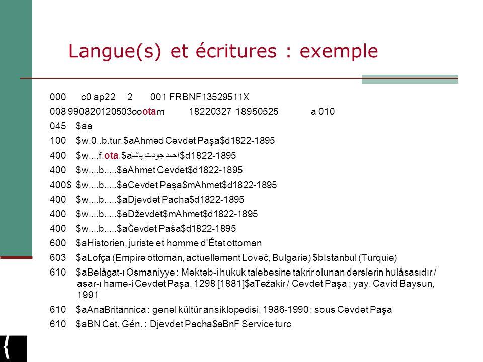 Langue(s) et écritures : exemple