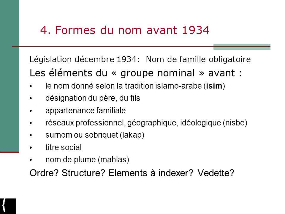 4. Formes du nom avant 1934 Les éléments du « groupe nominal » avant :