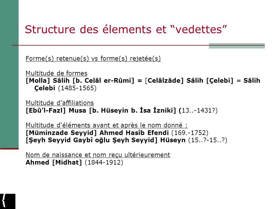 Structure des élements et vedettes