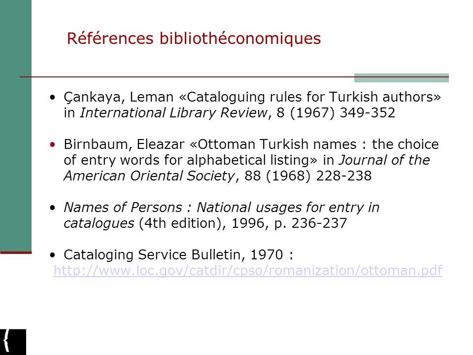 Références bibliothéconomiques